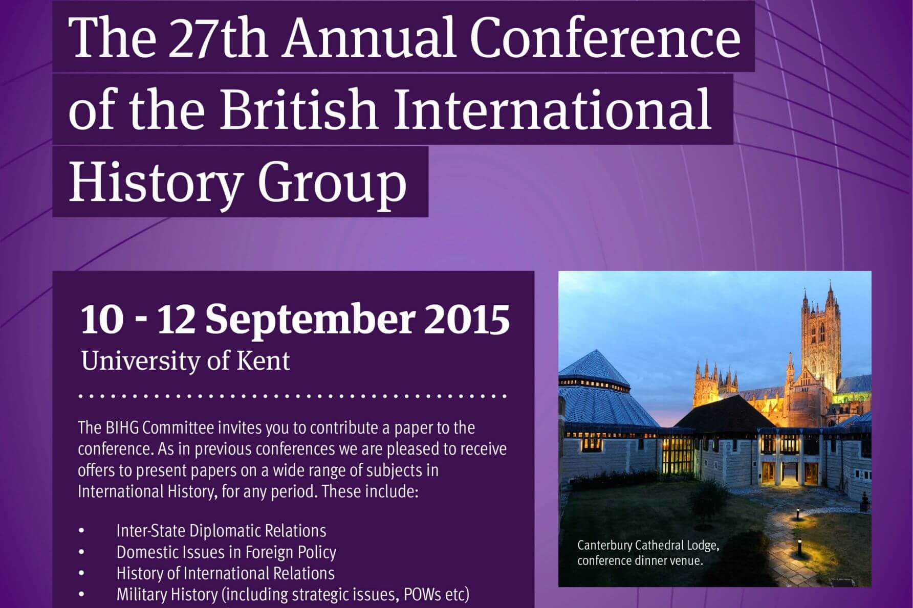 British International History Group 27th Annual Conference