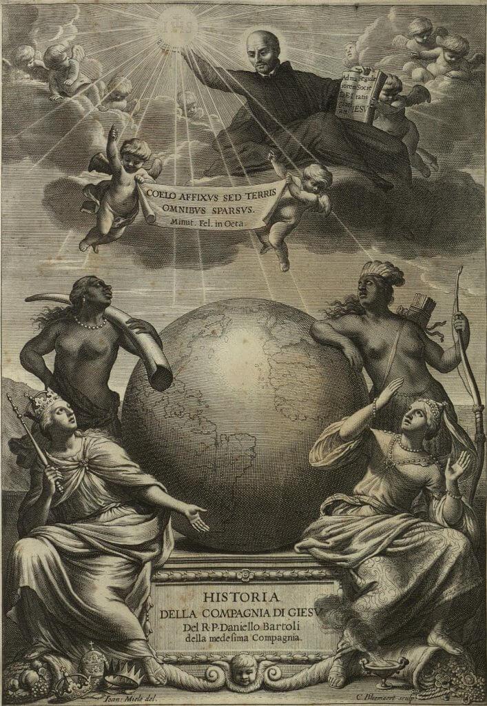 Historia della Compagnia di Giesu del R. P. Daniello Bartoli della medesima Compagnia. Frontispiece by Jan Miel and Cornelis Bloemaert. Roma, 1659