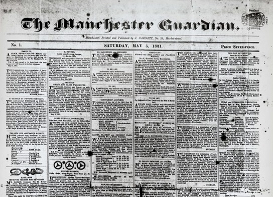 First edition Manchester Guardian 5 May 1821