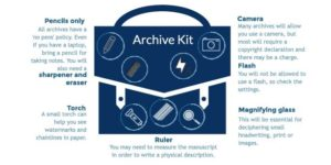 The image suggests useful materials to take to the archive. These includes pencils, a torch, magnifying glass, ruler, camera and USB drive.