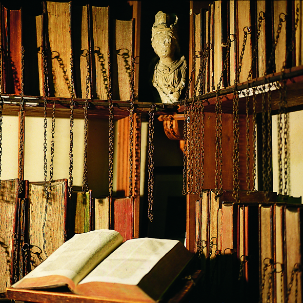 Shelves Chained Books at Wimborne Minster Chained Library