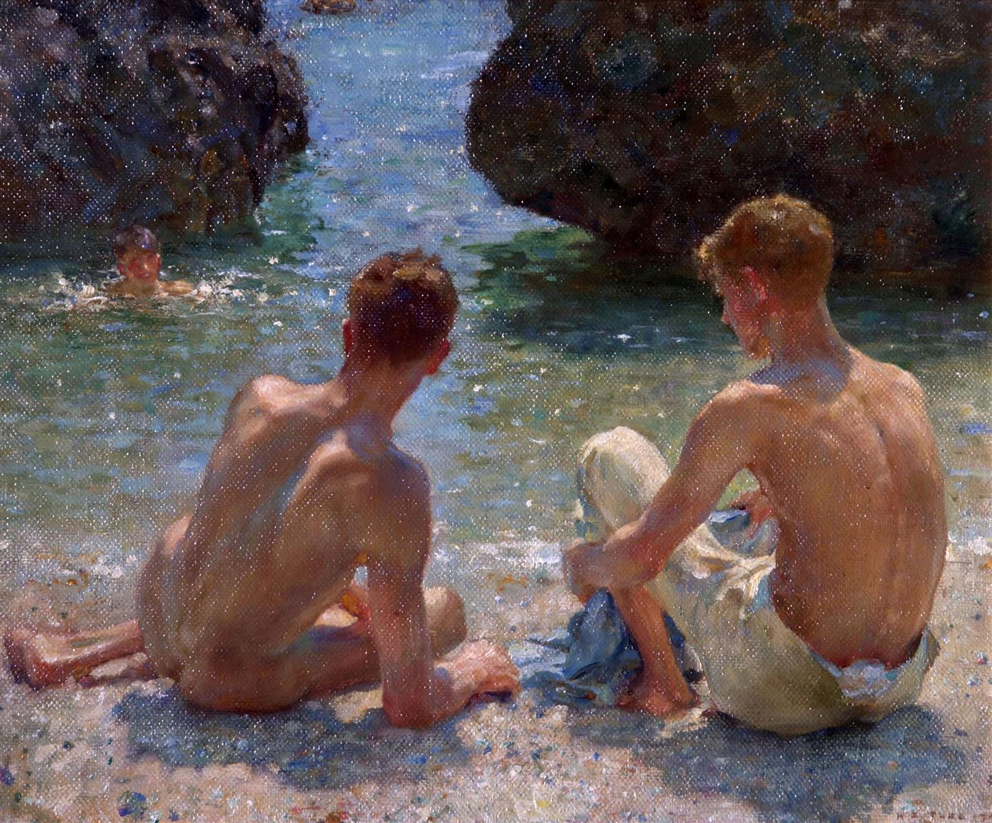 "Henry Scott Tuke's painting ""The Critics"" showing two naked men, sitting in the sun above a sea pool as another man swims in the water below."