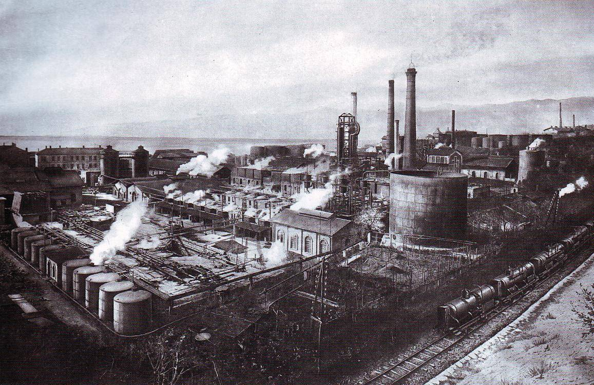 An aerial black and white view of Rijeka oil refinery dating from c.1930. Rijeka is the largest oil refinery in Croatia..