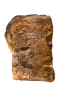 A photo of the Gairloch pictish stone which depicts a sish (possibly salmon) and the lower half of a bird (possibly an eagle)