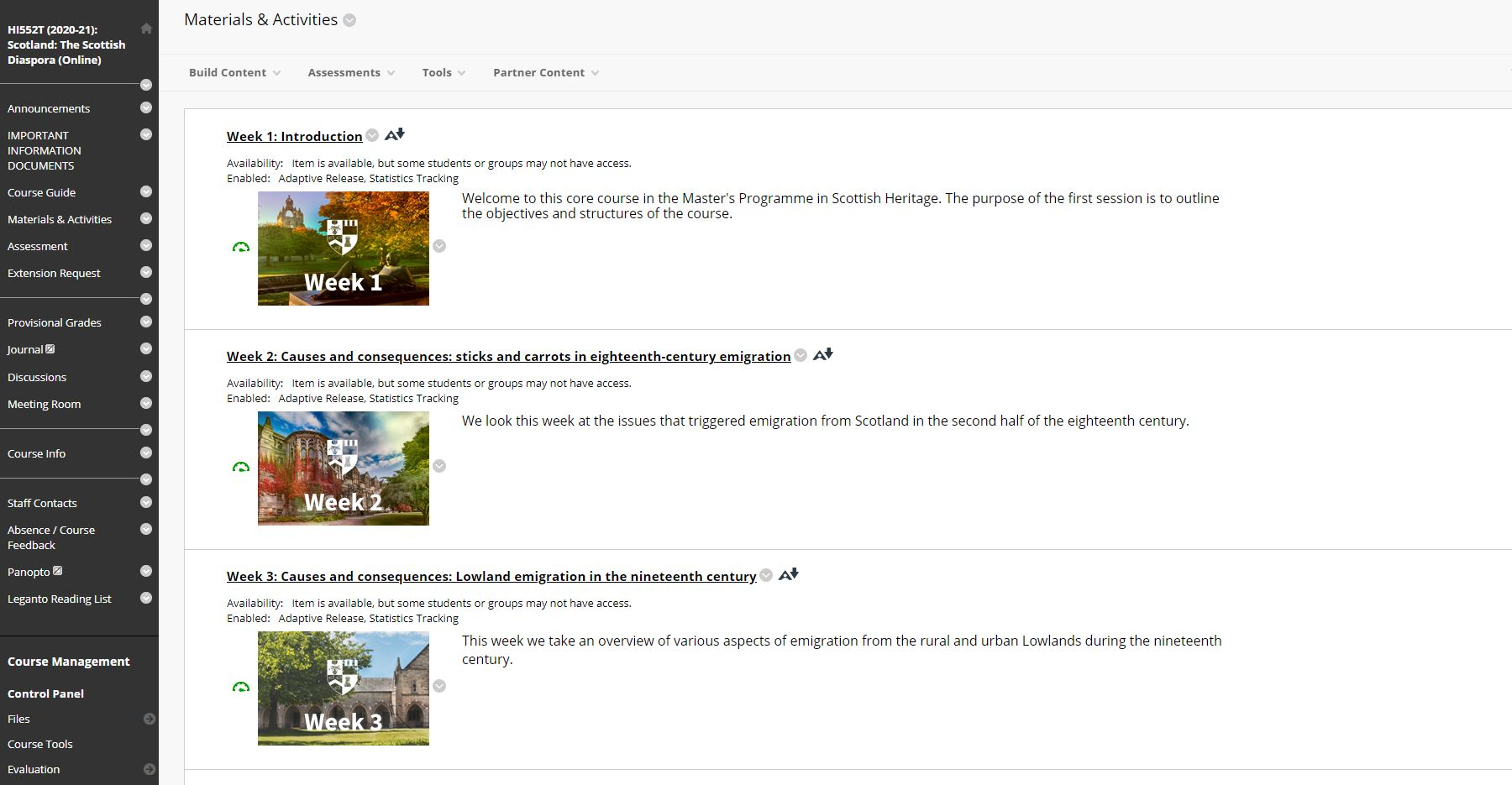 A screengrab of the front page of an online module landing page. Three weeks are shown, each with a thumbnail image, title and brief description of the topic for discussion.