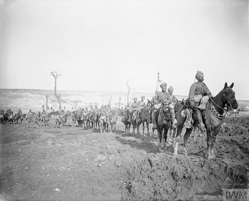 Photograph from 1917 showing soldiers on horseback retreating from the Hindenburg Line during the First World War
