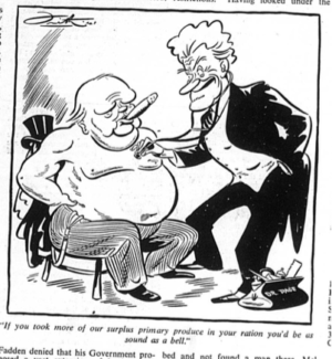 Cartoon from 1941 showing Sir Earle Christmas Grafton Page as a doctor examining Winston Churchill