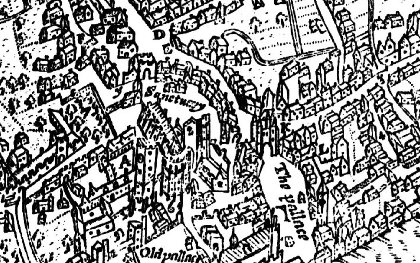 Detail of John Norden's Map of Westminster, 1593, engraved by Pieter Van den Keere.