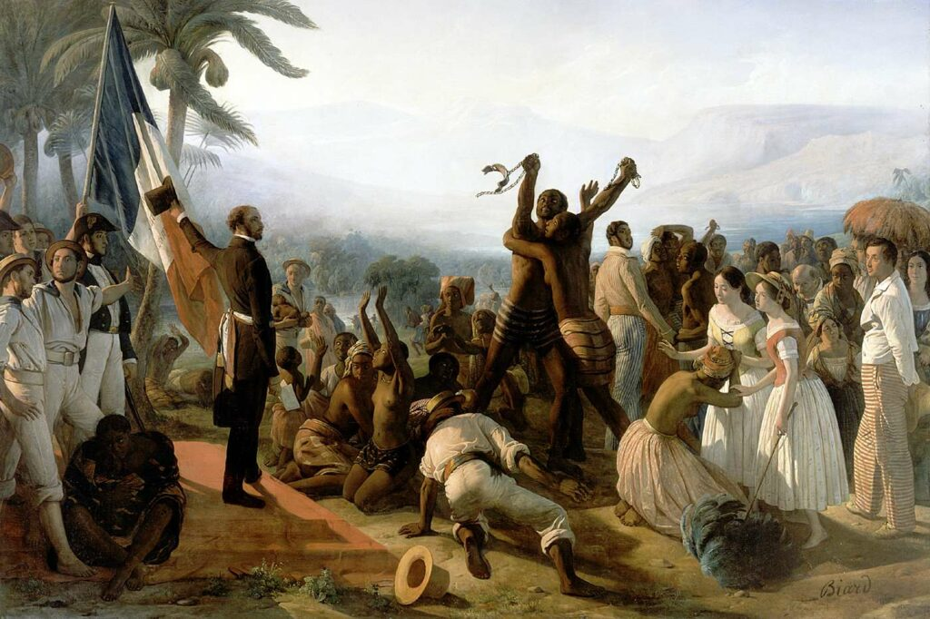 François-Auguste Biard painting of the Proclamation of the Abolition of Slavery in the French Colonies, 27 April 1848.