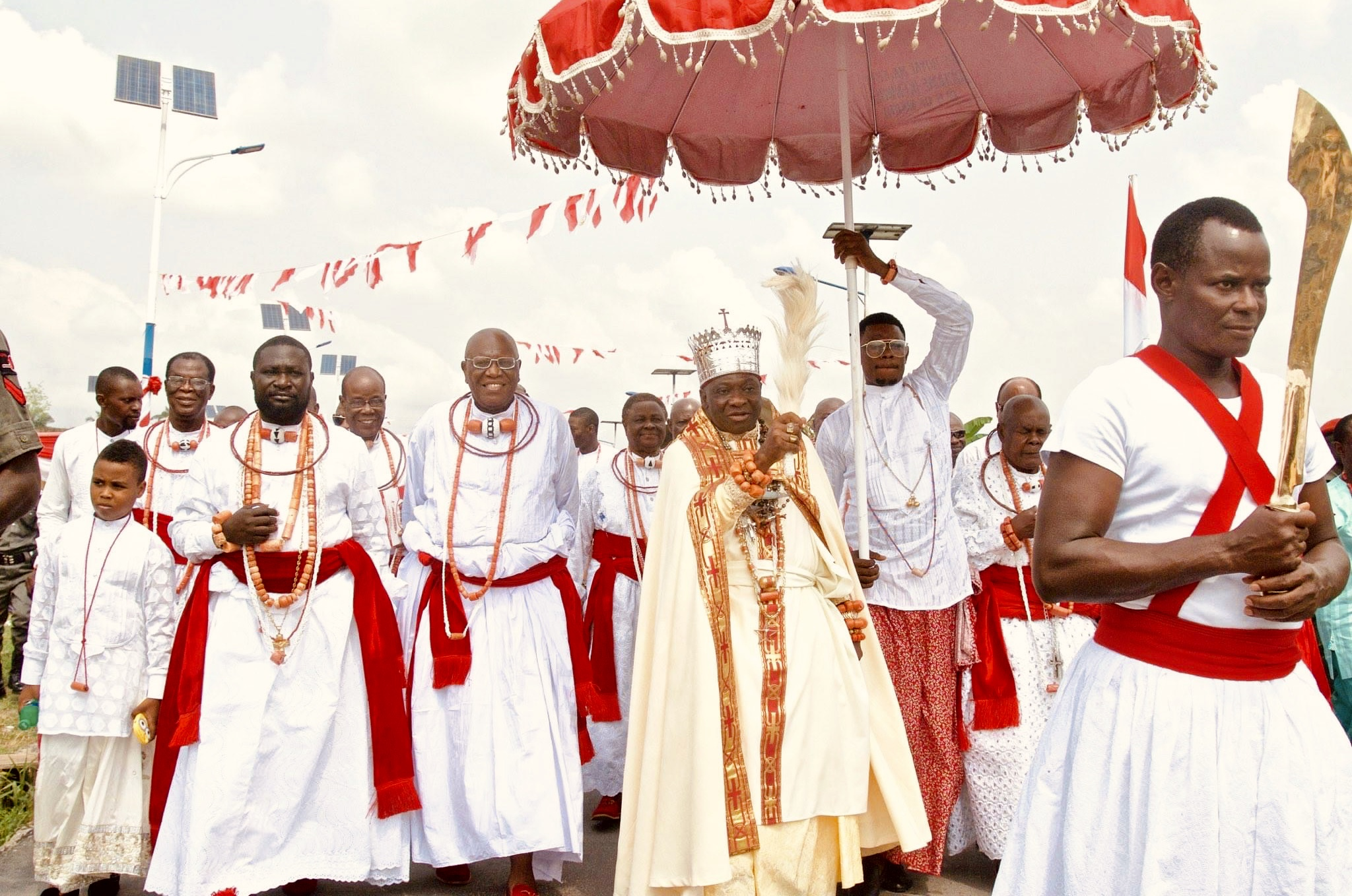 A procession for the Coronation Anniversary of the Olu of Warri Ogiame Ikenwoli at Ode-Itsekiri in 2016.