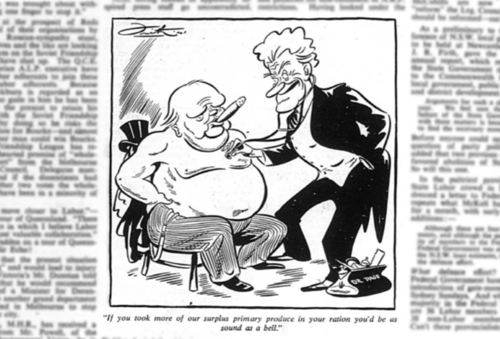 Cartoon of Winston Churchill and Sir Earle Page